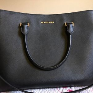Michael Kors Savannah XL Leather Satchel BLACK